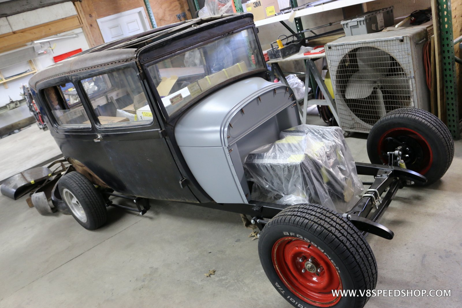 1928 Ford Sedan Chassis Fabrication at V8 Speed & Resto Shop