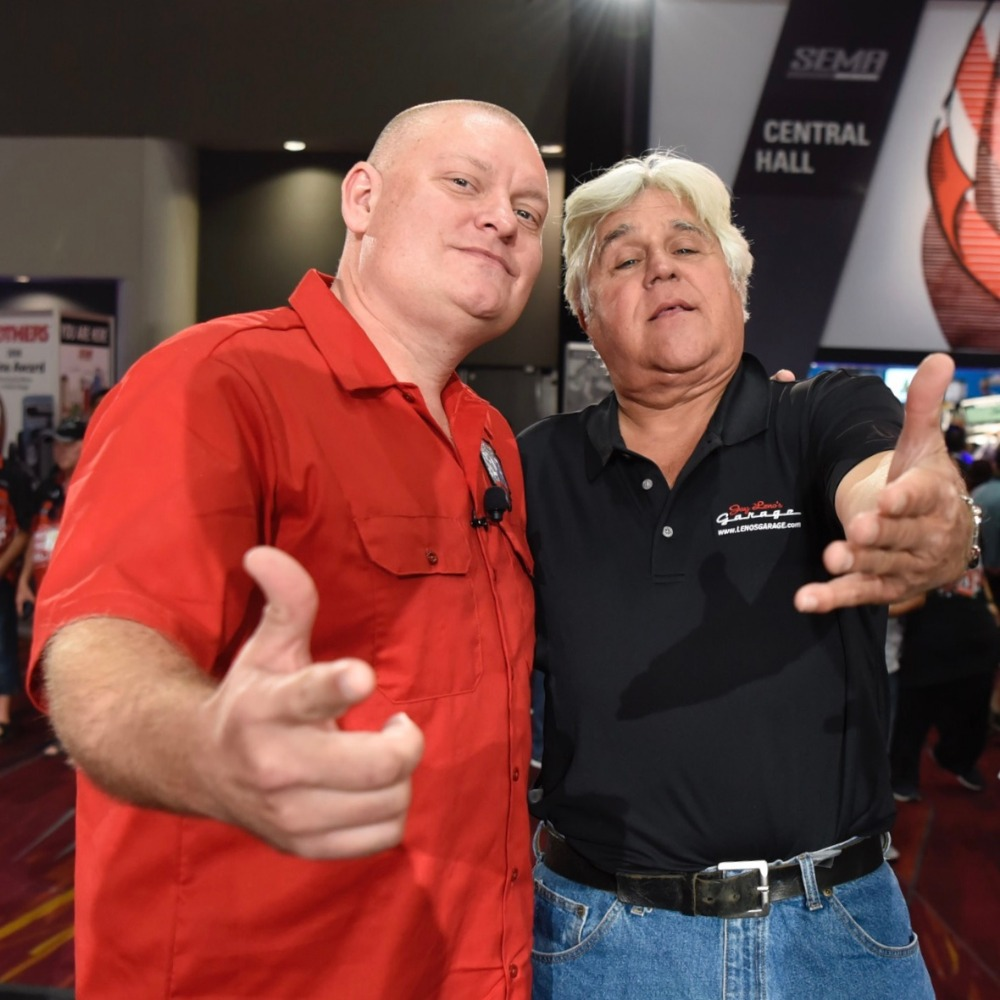Kevin Oeste of V8TV hangs out with Jay Leno at 2018 SEMA Show
