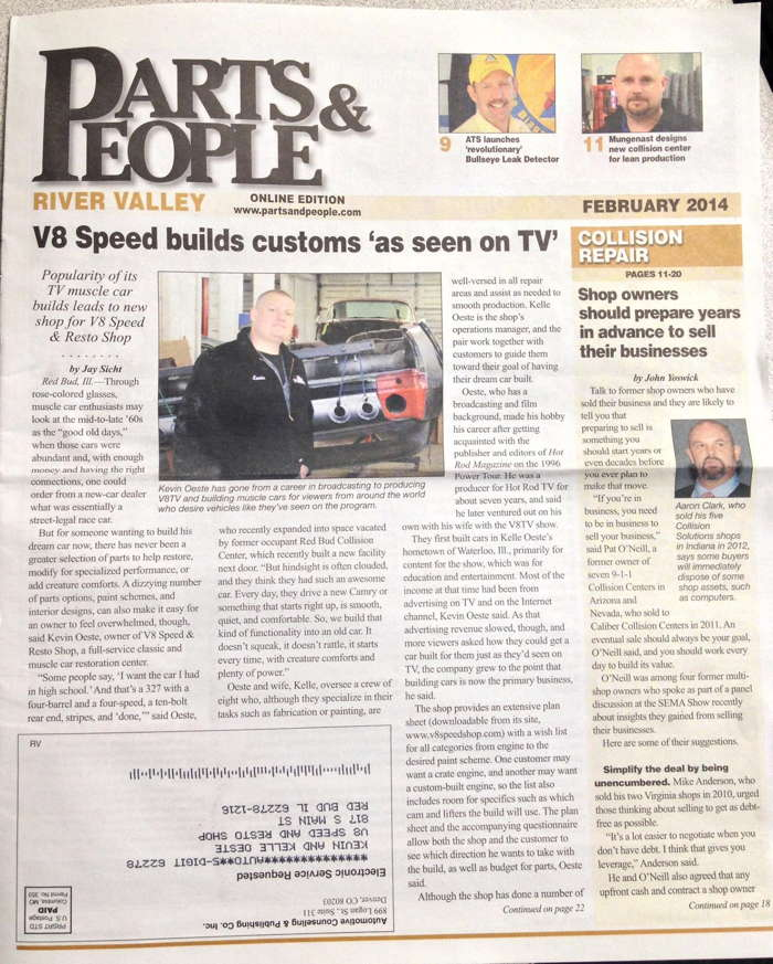 V8 Speed & Resto In Parts & People Newspaper